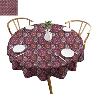 ScottDecor Printed Tablecloth Winter Overlays Round Tablecloth Christmas Bauble Festive Diameter 36
