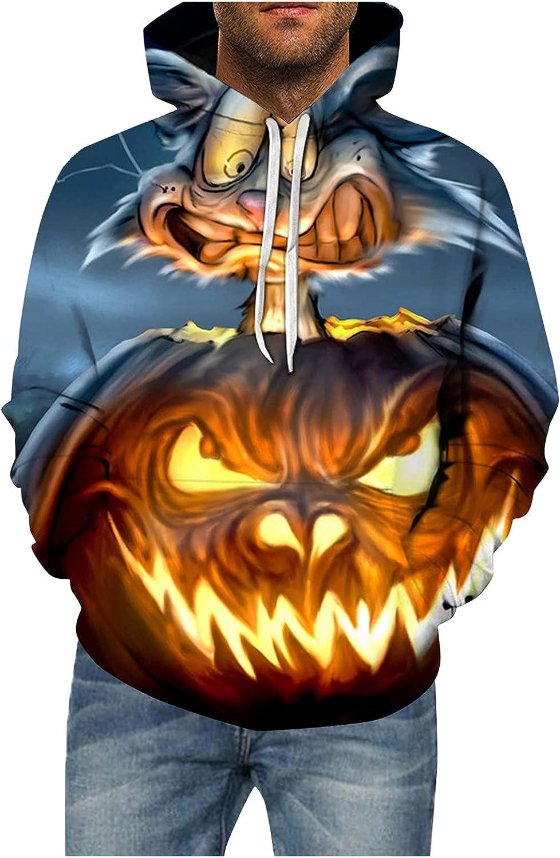 Men's Halloween Evil Pumpkin Skull Variety Printed Hoodie Plus Size Sweatshirts