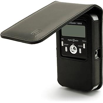 iGadgitz Black Leather Case Cover for Pure Pocket DAB 1500 Radio