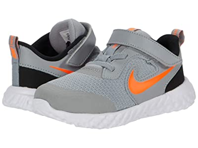 Nike Kids Revolution 5 (Infant/Toddler) (Light Smoke Grey/Total Orange/Black) Boys Shoes