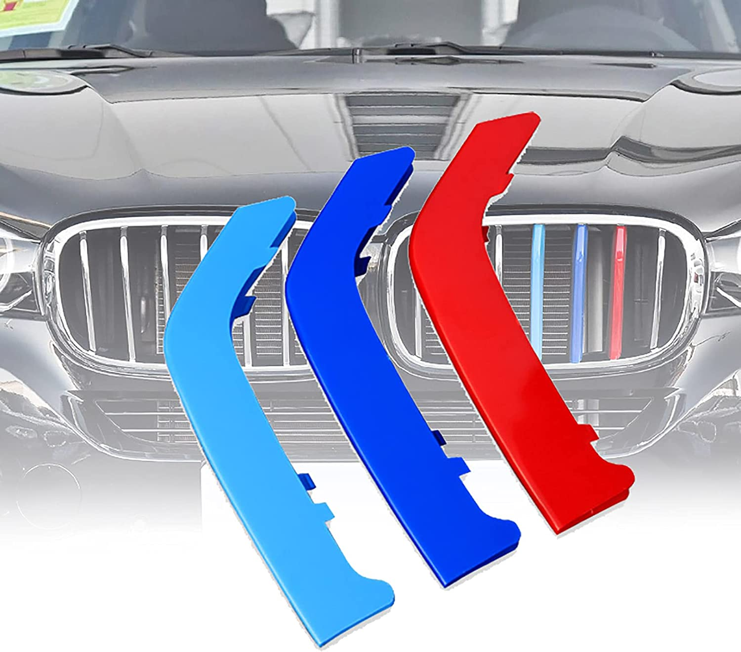 Safety and trust ZINIUKEJI 3Pcs M Color Front Insert Clip in Fees free Grille Stripe