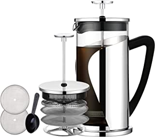 French Coffee Press, Bebeke Glass French Press Coffee Tea Maker| 8 cup, 34 oz |304 Stainless Steel Coffee Press Pot with 4 Filter Screens, Dishwasher Safe Easy Clean Heat Resistant Borosilicate Glass