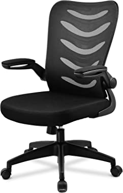 ComHoma Office Chair Ergonomic Desk Chair Mesh Computer Chair with Flip Up Arms Lumbar Support Adjustable Swivel Mid Back for