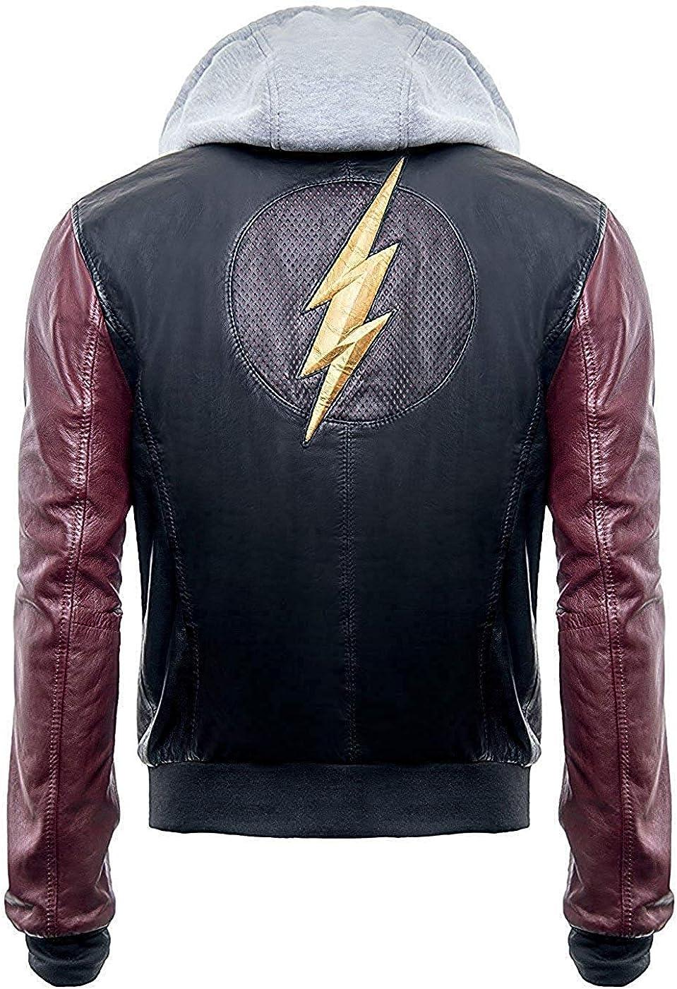 Flash Ezra Miller Barry Allen Biker Rider Hooded Motorcycle Bomber Leather Jacket
