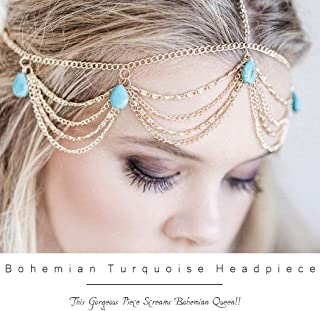 Barogirl Leaves Head Chain Jewelry Turquoise Trendy Hair Band Elastic for Women and Girls (Gold A)