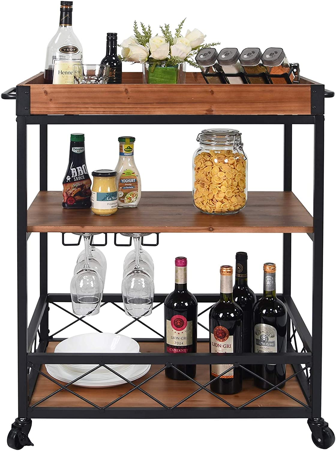 CharaVector Solid Wood Bar Serving Cart, Rolling Kitchen Storage Cart for the Home with Wine Glass Rack and Lockable Caster, Rustic Brown - Bar & Serving Carts