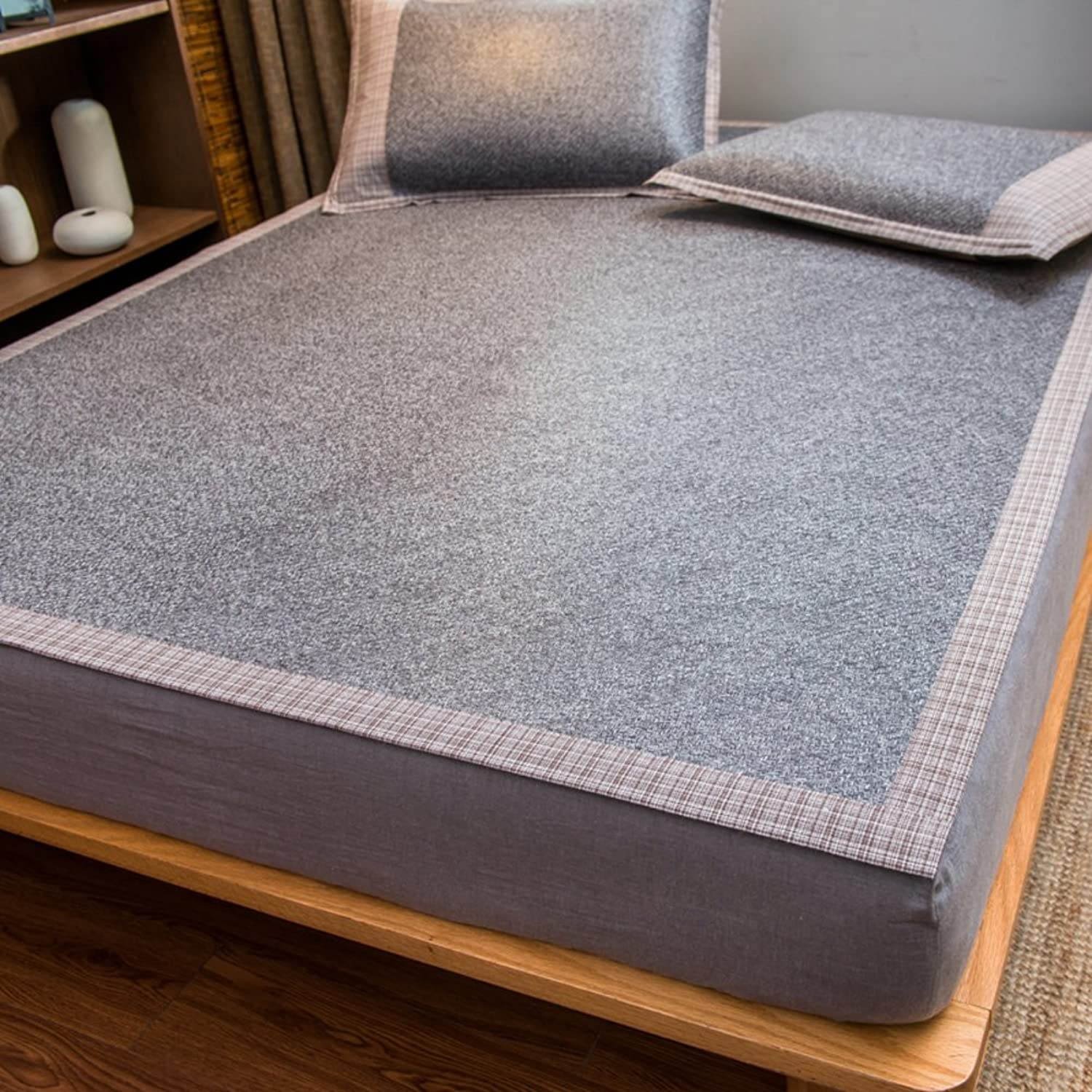 Japanese Rattan mat,Double Collapsible ice Straw mat Collapsible Breathable Summer mat Cool pad -A 90x200cm(35x79inch)