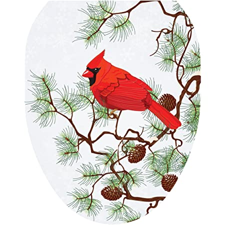 Toilet Tattoos Toilet Seat Cover Decal Winter Cardinal Size Elongated Amazon Com