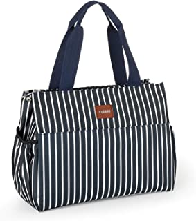 VARANO Lunch Bags for Women/Girls Insulated Lunch Box Lunch Tote Cooler Bag with Drink Holder Fashionable Insulated Lunchbox for Picnic School Work (Dark Blue & White Stripe)