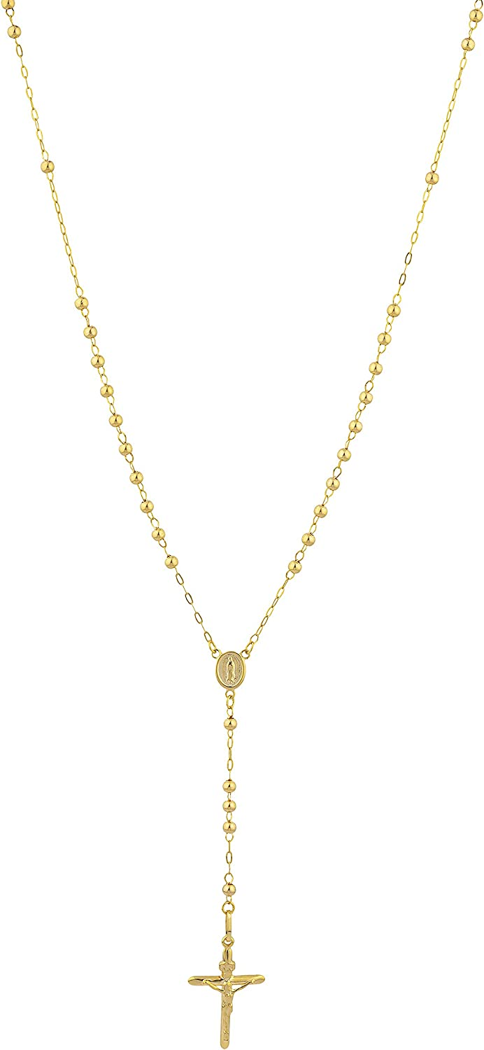 14k Yellow Gold 3mm Rosary Beaded Cross Necklace with Virgin Mary