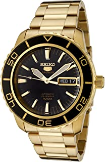 Seiko Men's 5' Japanese Automatic Gold-Tone-Stainless-Steel Casual Watch, Color:Gold (Model: SNZH60)