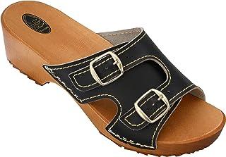 34069f9723df5 BeComfy Pantoufles en Bois pour Femme Sabots Chaussures à Talons Chaussures  en Bois Sandales - Noir