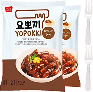Instant Jjajang Tteokbokki Rice Cake | Pack Of 2 Popular Korean Snack With A Jjajang Sauce
