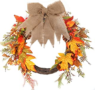 AGEOMET Fall Harvest Wreath Autumn Maple Door Wreath Leaves and Pinecone for Front Door or Indoor Wall Thanksgiving & Fall Season Décor