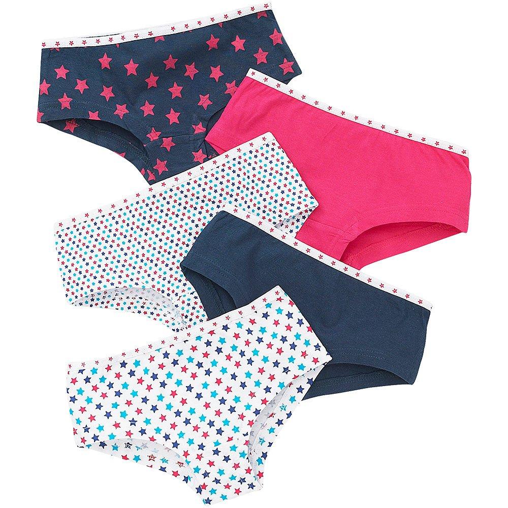 Just Essentials Girls Back to School 5 Pack Cotton Star Print Briefs