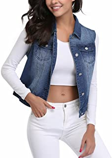 MISS MOLY Womens Denim Vest Button Up Sleeveless Washed Jean Jacket w 2 Chest Flap Pockets