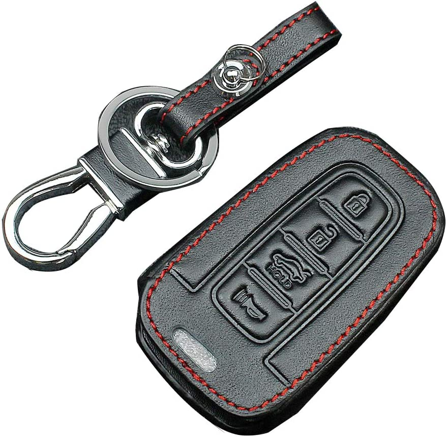 4 Button 2021 spring and summer new Leather Key Cover Remote Fob Smart Holder S Baltimore Mall for Hyundai