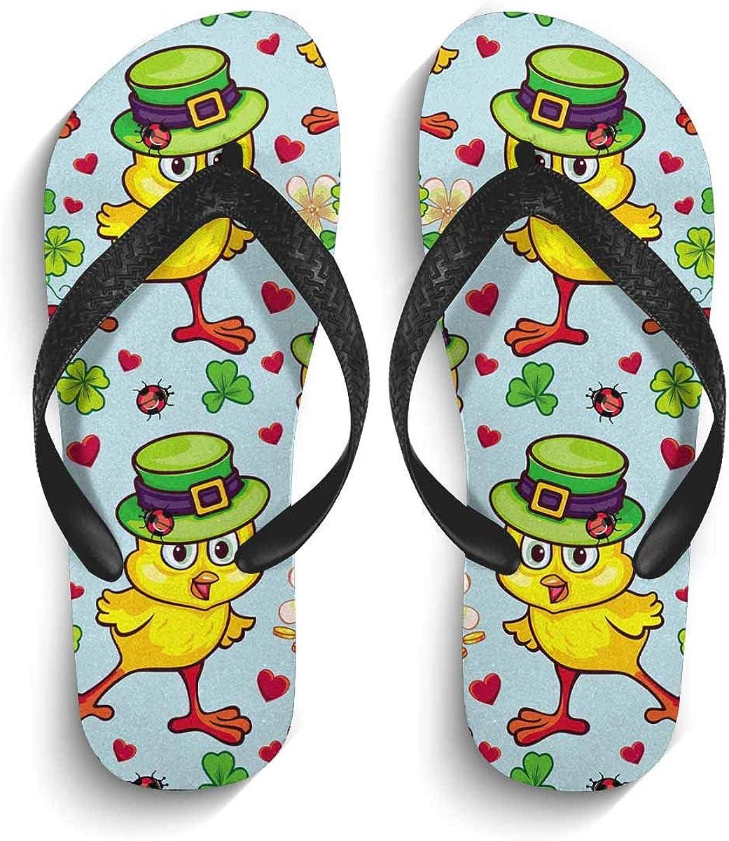InterestPrint Men's Flip Flop Slippers Funny Yellow Chick Green Hat Summer Beach Thong Sandal M