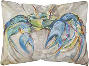 Caroline's Treasures JMK1089PW1216 Blue Crab Canvas Fabric Decorative Pillow, 12H x16W, Multicolor