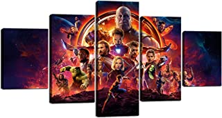 Avengers Infinity War Superheroes Movie Poster Marvel Comics Gift for Children Kids Decor Canvas Wall Art Painting Home Decor Wall Art Picture Framed Print 5 Panels Ready to Hang