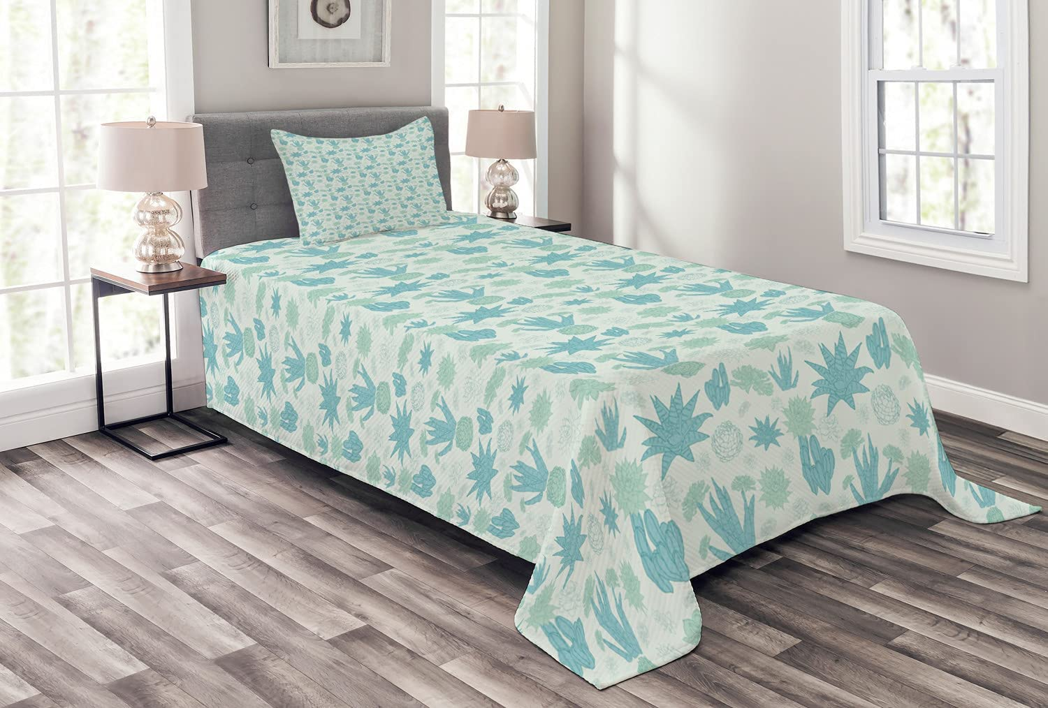 Ambesonne Classic Succulent Bedspread Continuous Trust of Toned Pattern Cold