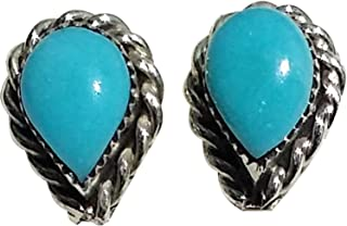 Small Tear-drop Stabilized Turquoise Stud Earrings with Twist Wire Border Design Original Zuni Authentic Indian Jewelry