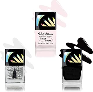 Color Fever Ultra Sparkle Nail Color, Black/White/Top Coat, 9ml (Pack of 3)