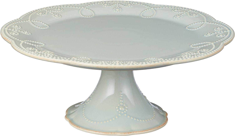 Lenox French Perle Pedestal Cake Plate, Medium, Ice bluee