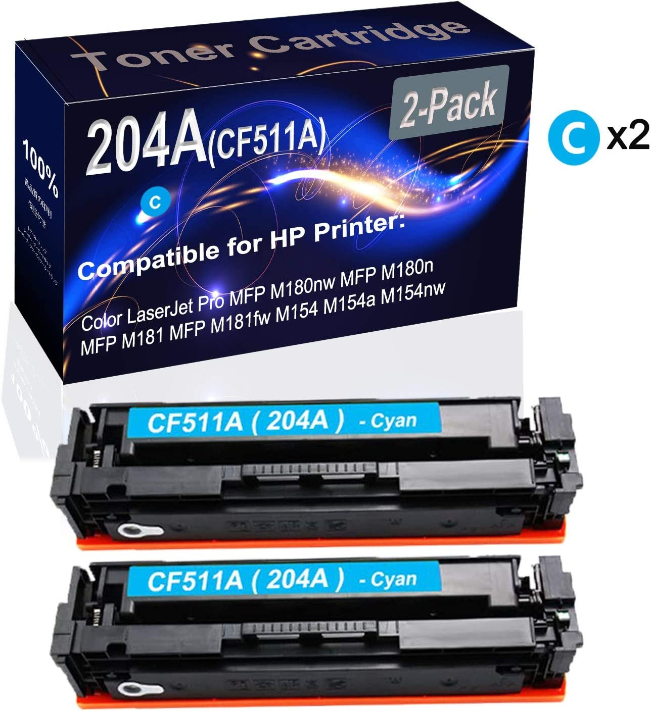 2-Pack (Cyan) Compatible High Yield 204A (CF511A) Printer Toner Cartridge use for HP MFP M180nw MFP M180n MFP M181 M154nw Printers