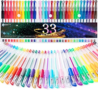Gel Pens, 33 Color Gel Pen Fine Point Colored Pen Set with 40% More Ink for Adult Coloring Books, Drawing, Doodling, Scrapbooks Journaling
