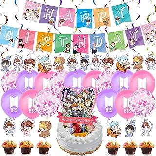 BTS Birthday Decorations Set, NALCY 40 Pcs BTS Conjunto de Decoración de cumpleaños BTS Cupcake Toppers Banner Globos Happ...