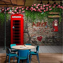 Afashiony Photo Wallpaper 3D London Telephone Booth Rose Brick Wall Background Mural Wallpaper Cafe Restaurant Wall Papers 3D Home Decor-350Cmx250Cm