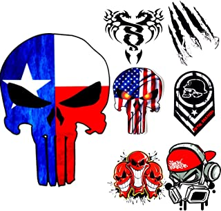 Skull Decal American Flag for Trucks Window Universal Motorcycle Laptop Car Army Navy Military Jeep Punisher Sticker Vinyl Bumper Reflective Helmet Red US Flag