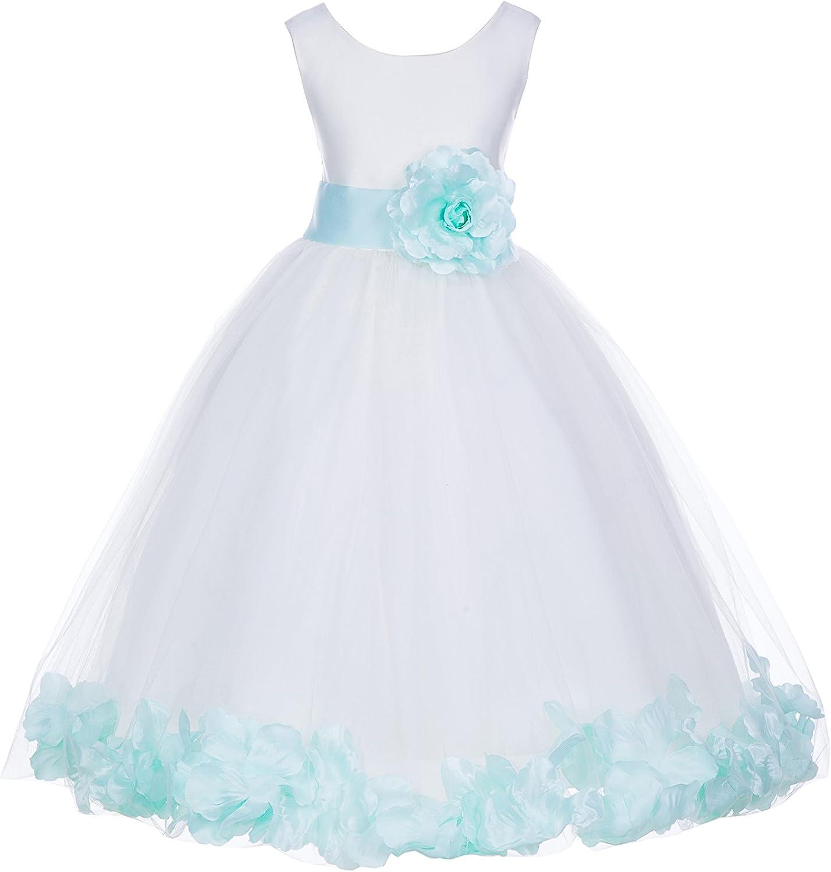 White Tulle Rose Floral Petals Flower Girl Dress Girls Party Dresses 302S