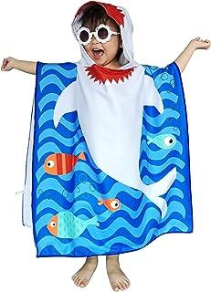 Athaelay Toddler Boys Beach Towels Poncho Qucik Drying Microfiber Bath Robe Cape for Kids, Grey Shark