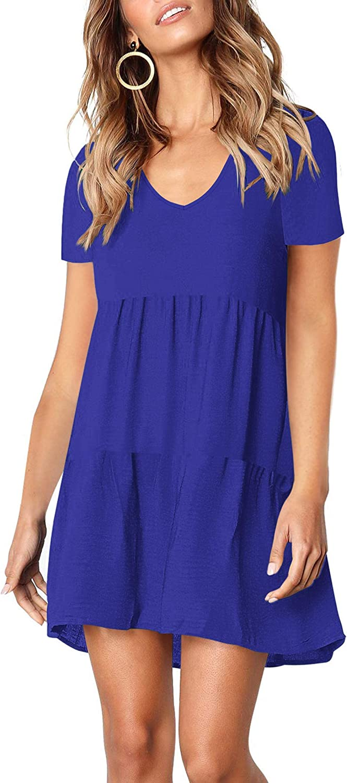 MISFAY Women's Summer Tunic Dress V Neck Short Sleeve Casual Loose Swing Shift Dresses (M, Royal Blue)
