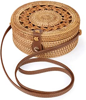 Rattan Bags for Women - Handmade Wicker Woven Purse Handbag Circle Boho Shoulder Bag Bali