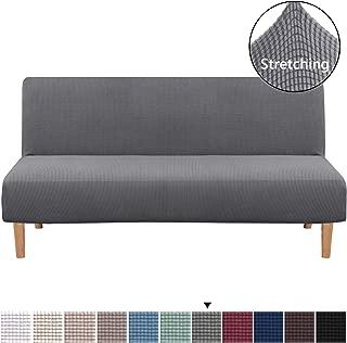 H.VERSAILTEX Armless Futon Cover Stretch Sofa Bed Slipcover Protector Elastic Feature Rich Textured Lycra High Spandex Small Checks Jacquard Fabric Sofa Shield Futon Cover, Machine Washable, Gray