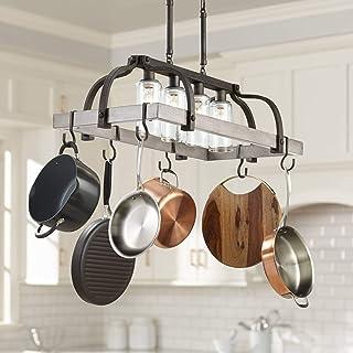 "Marsden Bronze Gray Wood Rectangular Pot Rack Pendant Chandelier 36"" Wide Rustic Farmhouse Clear Seedy Glass 4-Light Fixtu..."