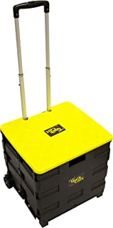 dbest products Quik Cart Two-Wheeled Collapsible Handcart with Yellow Lid Rolling Utility with seat Heavy Duty Lightweight,