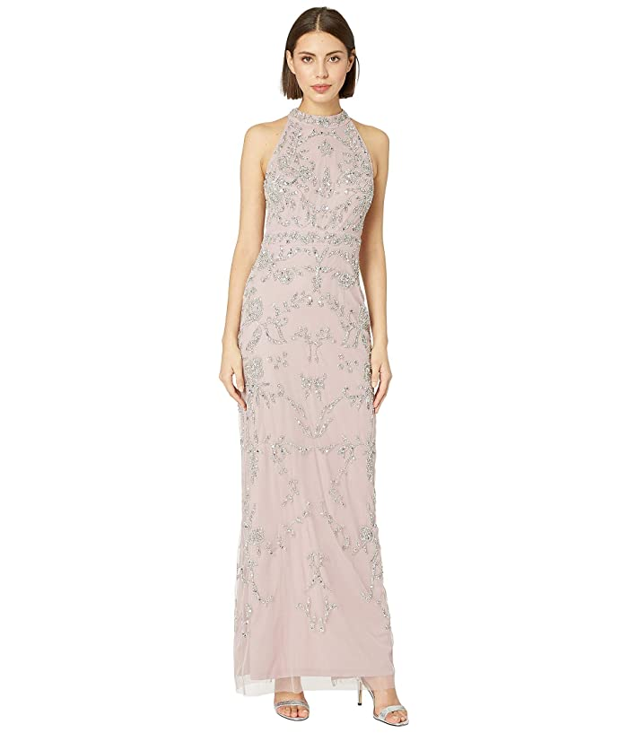 Adrianna Papell Beaded Halter Evening Gown (Dusted Petal) Women