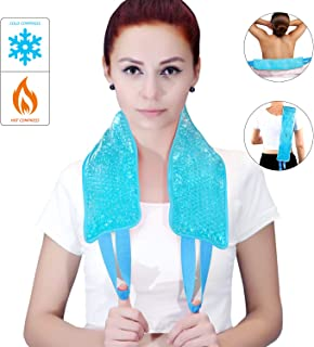 ice Packs for Injuries, Hot/Cold Therapy for Neck Shoulder Back Knee,Reusable Gel Beads ice Pack with Soft Plush Pain Relief for Injuries,Swelling, Aches, Bruises & Sprains