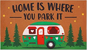 Camping Indoor Outdoor Doormat Home is Where You Park It Happy Camper RV Rugs Summer Fall Housewarming Front Porch Carpet Gift Entrance Ornament Supplies 17 x 30 Inches