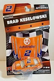 NASCAR Authentics Brad Keselowski #2 Diecast Car 1/64 Scale - 2018 Wave 8 with Mini Hood - Collectible