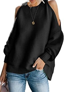Women Long Sleeve Cold Shoulder Fall Knit Sweater Loose Pullover Tunic Tops(S-XL)
