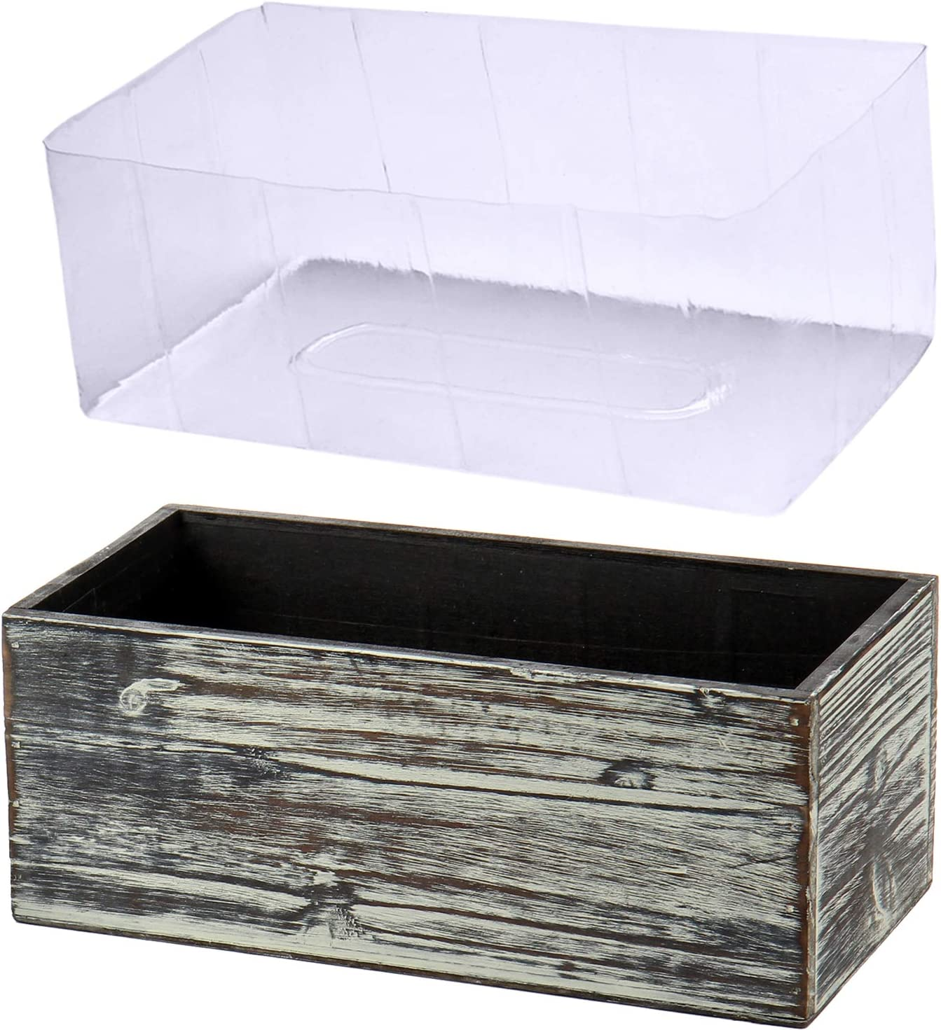 Wood Planter Box Wood Rectangular Planter Whitewashed Wooden Planter Boxes Indoor Decorative Rustic Wooden Box with Inner Plastic Box Floral Boxes for Window Succulent Herb