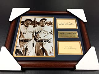 BABE RUTH LOU GEHRIG Autographed Cut Signature REPRINT Framed 8x10 Photo YANKEES