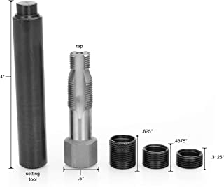 OEMTOOLS 25647 Spark Plug Saver   14m x 1.25 Thread Reamer and Thread Inserts   5 Piece (3 Thread Inserts, 1 Reamer, & 1 S...