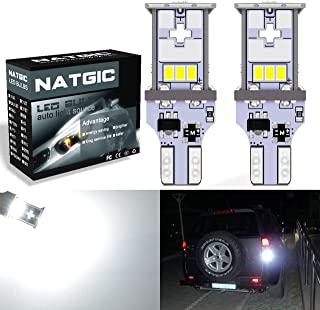 6500K,12-24V 2-Pack NATGIC T15 T10 W16W 921 915 LED Bulbs Xenon White 1800LM 3014SMD 78-EX Chipsets with Lens Projector for Tail Backup Brake Reverse Rear Parking Light