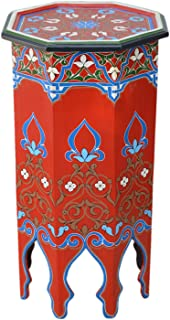 Painted Wood Moroccan Wood Side End Table Corner Coffee Handmade Hand Painted Moorish Tall Red